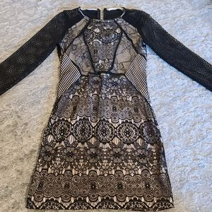 gorgeous nude lined black lace dress
